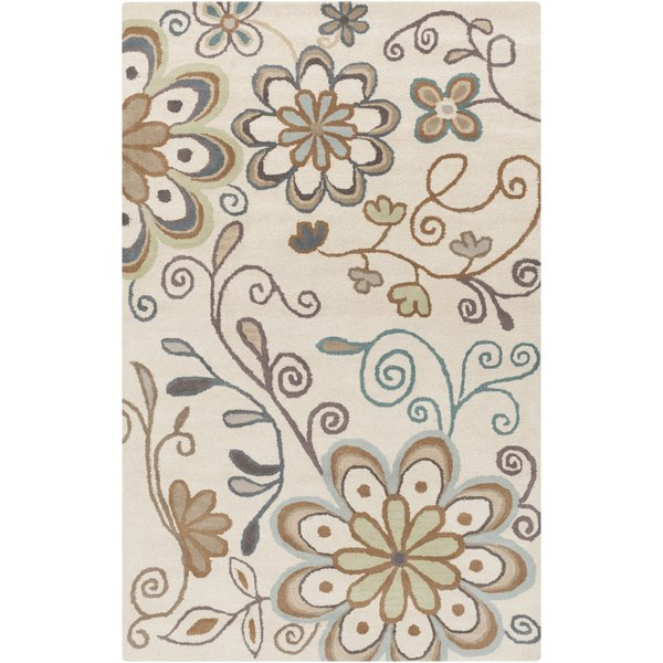 Beige, Denim, Eggplant, Dark Green, Camel Floral / Botanical Area Rug