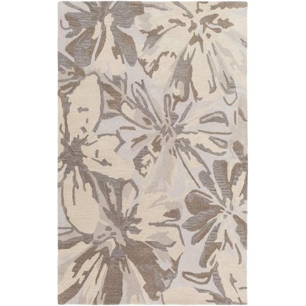Light Gray, Khaki, Dark Brown, Beige Floral / Botanical Area Rug