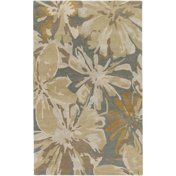 Beige, Camel, Teal, Tan, Taupe Floral / Botanical Area Rug