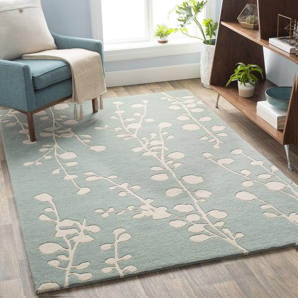 Mint, Ivory Floral / Botanical Area Rug