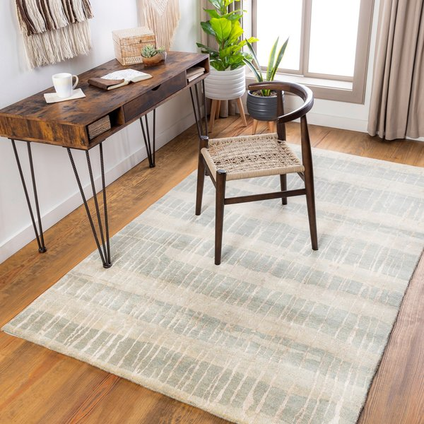 Moss, Beige Contemporary / Modern Area Rug