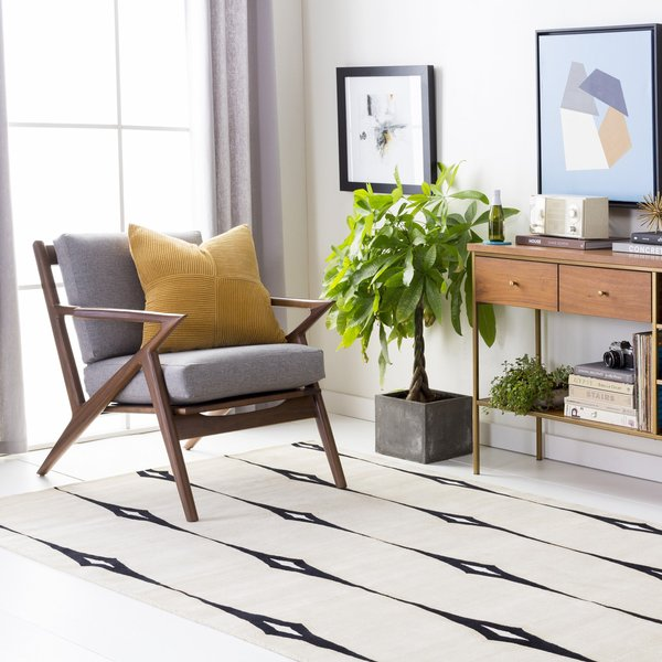 Ivory, Beige, Black, White Contemporary / Modern Area-Rugs
