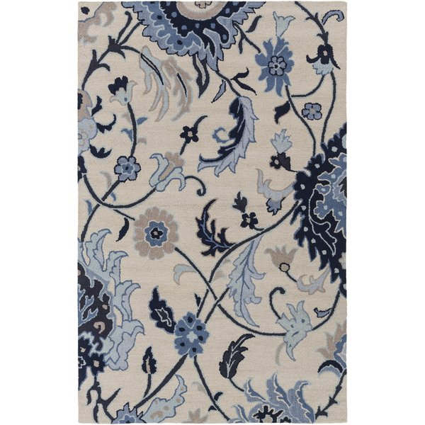 Khaki, Black, Dark Blue, Taupe Floral / Botanical Area Rug