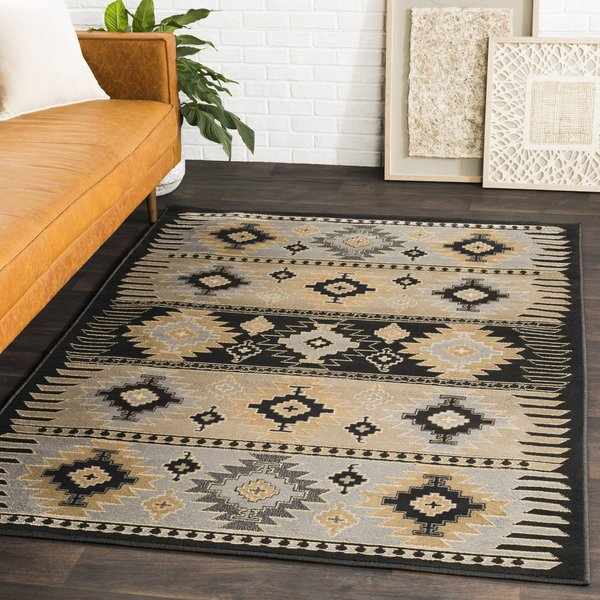 Charcoal Gray, Barley, Light Gray Southwestern Area Rug