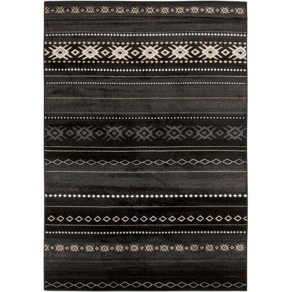 Coal Black, Pewter, Safari Tan Southwestern Area Rug