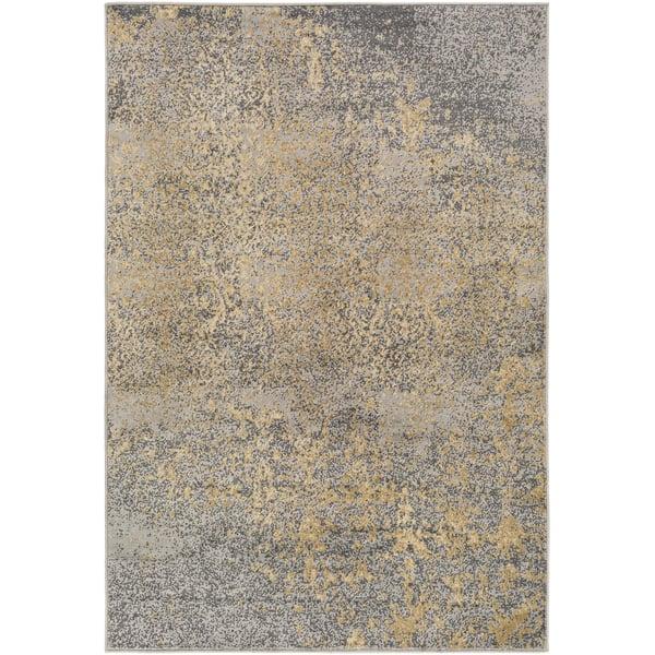 Tan, Beige, Pale Blue, Black Contemporary / Modern Area Rug