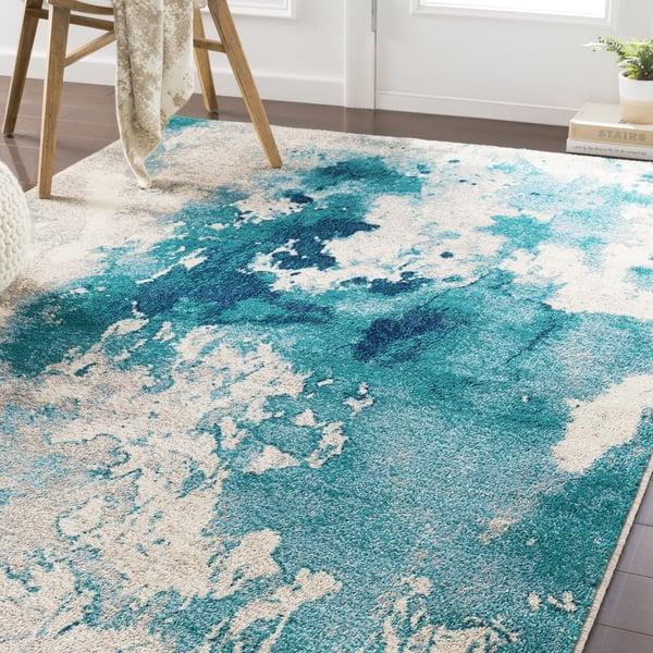Teal, Aqua, Dark Blue Abstract Area Rug