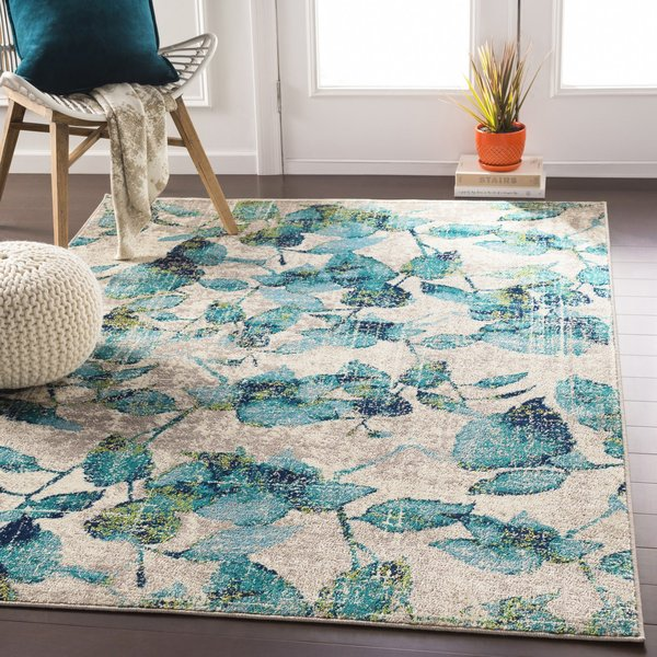Turquoise, Beige, Lime Floral / Botanical Area Rug