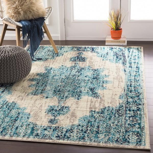 Aqua, Teal, Dark Blue Traditional / Oriental Area Rug
