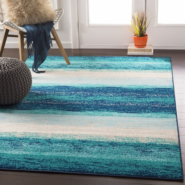 Teal, Aqua, Dark Blue Striped Area Rug