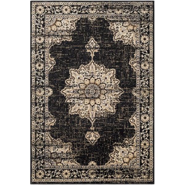 Black, Khaki, Medium Grey Traditional / Oriental Area Rug