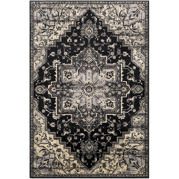 Black, Charcoal, Khaki Traditional / Oriental Area Rug