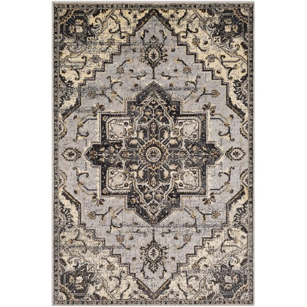 Grey, Charcoal, Beige Traditional / Oriental Area Rug