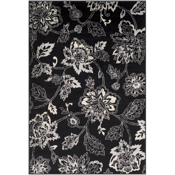 Medium Grey, Black, Beige Floral / Botanical Area Rug
