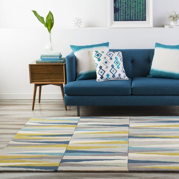 Aqua, Sky Blue, Beige Contemporary / Modern Area Rug