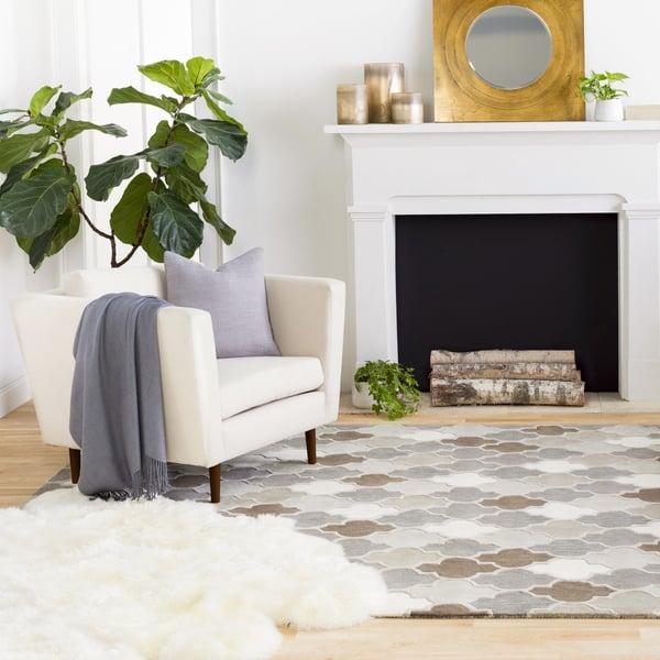 Medium Grey, Light Grey, Taupe Contemporary / Modern Area Rug