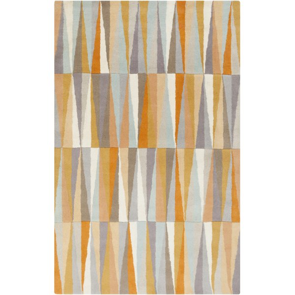 Bright Orange, Light Gray, Beige, Peach, Mauve Contemporary / Modern Area Rug