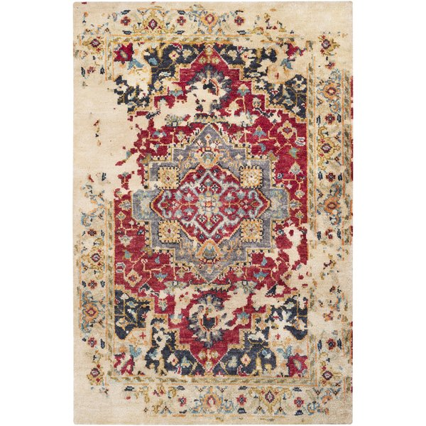 Khaki, Dark Red, Wheat, Navy, Aqua, Medium Grey Vintage / Overdyed Area Rug