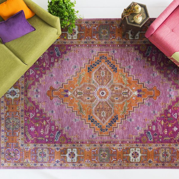 Eggplant, Clay, Lime Traditional / Oriental Area Rug