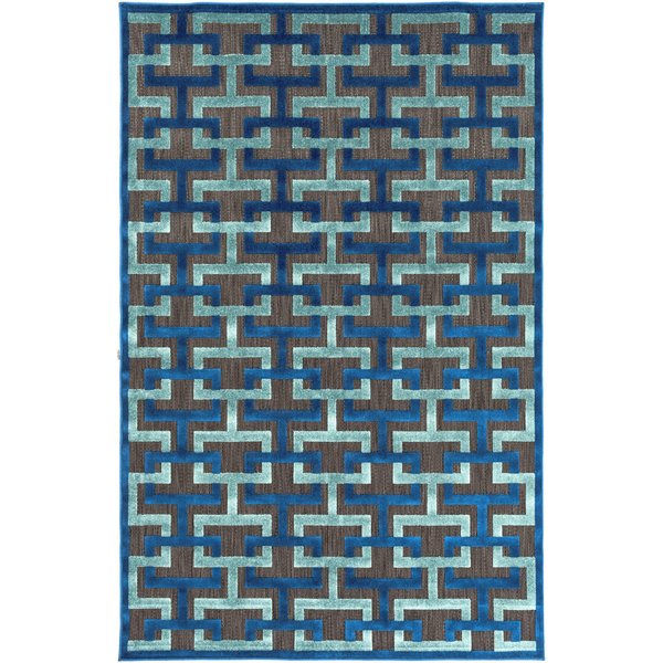 Navy, Aqua, Black (PRT-1059) Contemporary / Modern Area Rug