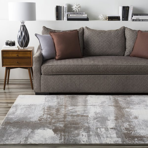Gray, White, Brown   Contemporary / Modern Area Rug