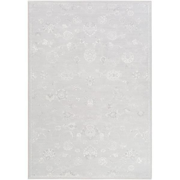 Light Gray, White, Medium Gray Traditional / Oriental Area Rug