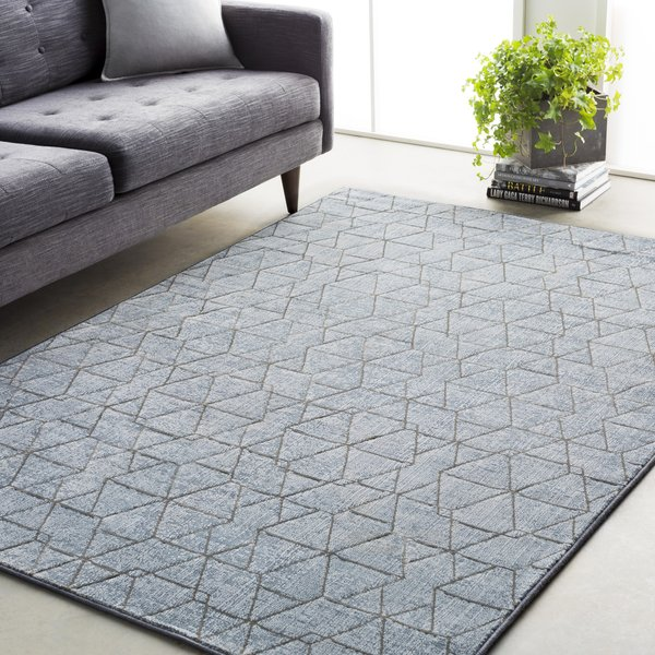 Denim, Medium Gray Contemporary / Modern Area Rug