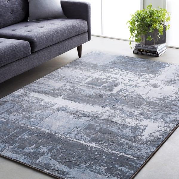 Denim, Medium Grey, White Contemporary / Modern Area Rug