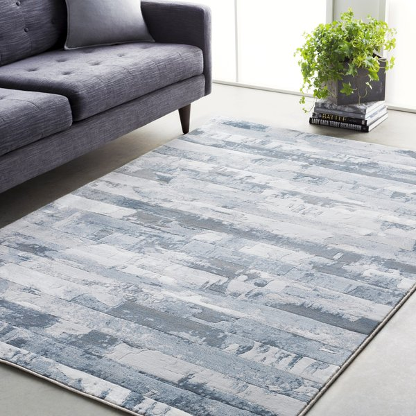 Denim, Light Grey, White, Medium Grey Contemporary / Modern Area Rug