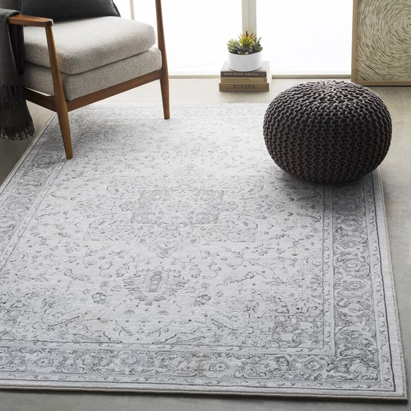 Light Gray, White, Charcoal Traditional / Oriental Area Rug