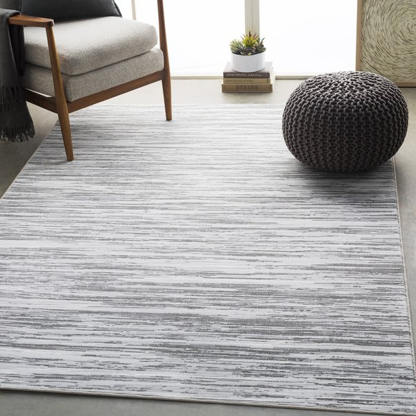 Light Gray, White, Charcoal Contemporary / Modern Area-Rugs