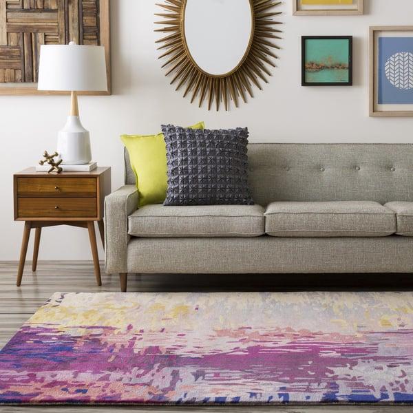 Dark Purple, Lime, Camel Contemporary / Modern Area Rug