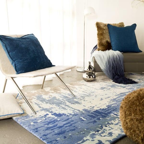 Dark Blue, Bright Blue, Cream Contemporary / Modern Area Rug