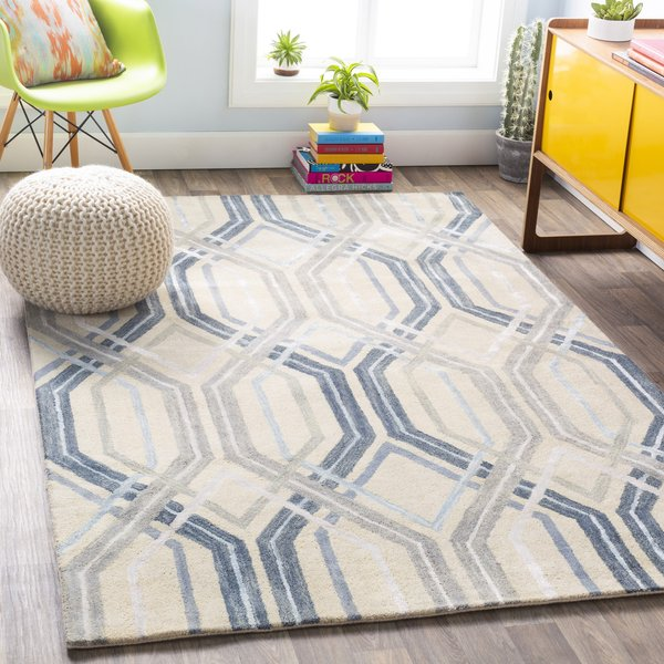 Beige, Light Gray, Sky Blue, Charcoal, Dark Blue Contemporary / Modern Area Rug