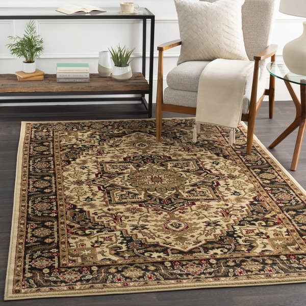 Black, Olive, Tan Traditional / Oriental Area Rug