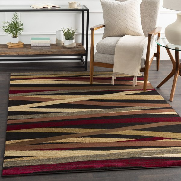 Cherry, Charcoal, Ivory Striped Area Rug