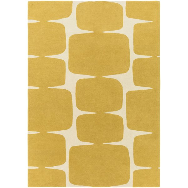 Mustard, Cream (SCI-36) Contemporary / Modern Area Rug