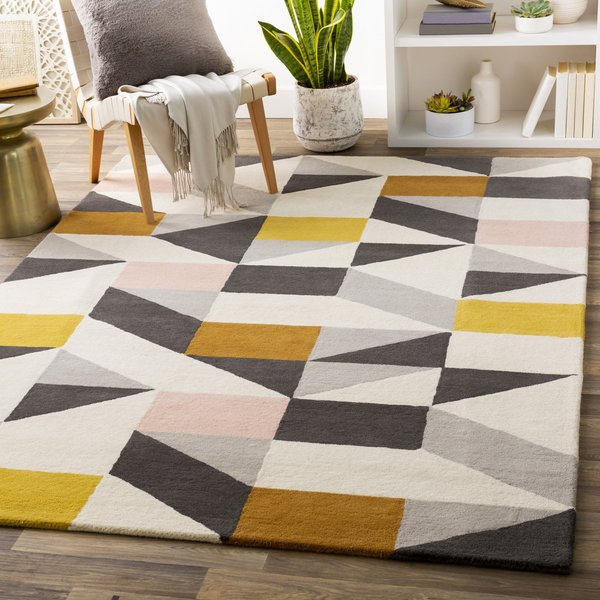 Ivory, Grey, Peach (SCI-45) Geometric Area Rug