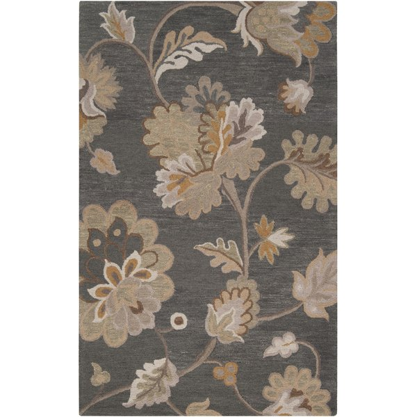 Feather Gray, Pewter, Cumin Floral / Botanical Area Rug