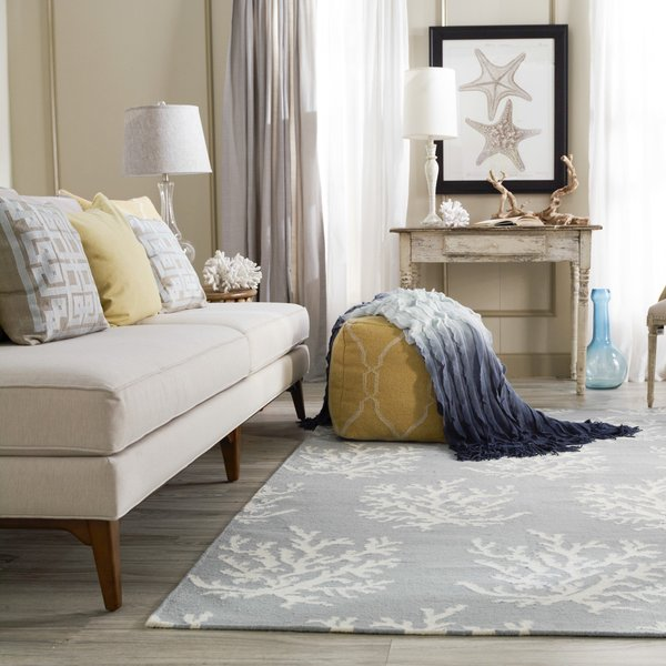Aqua, White Beach / Nautical Area Rug