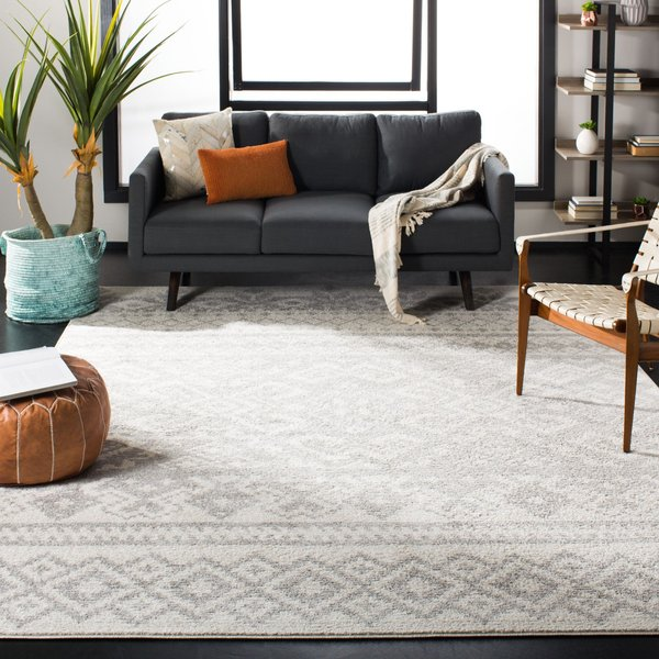 Ivory, Silver (B) Moroccan Area-Rugs