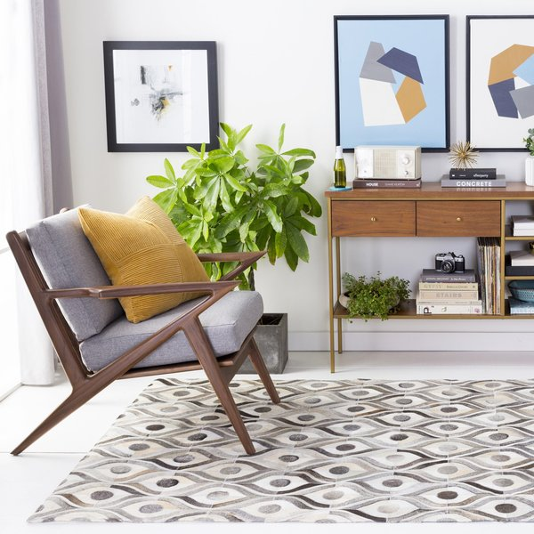 Winter White, Camel, Brindle Contemporary / Modern Area Rug