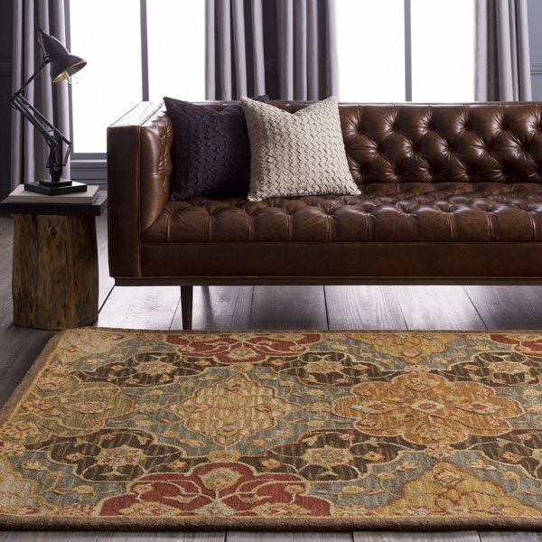 Fatigue Green, Coffee Bean, Feather Gray Traditional / Oriental Area Rug