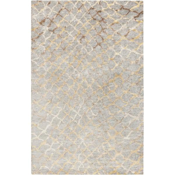 Medium Grey, Khaki, Ivory, Camel Contemporary / Modern Area Rug