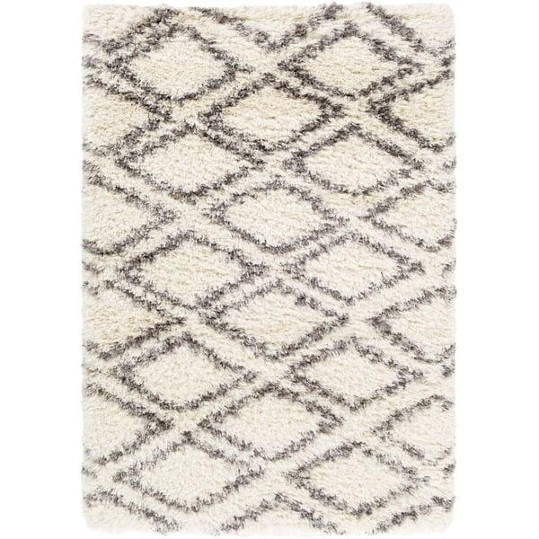 Cream, Grey, Charcoal, Dark Brown (RHA-1036) Shag Area-Rugs