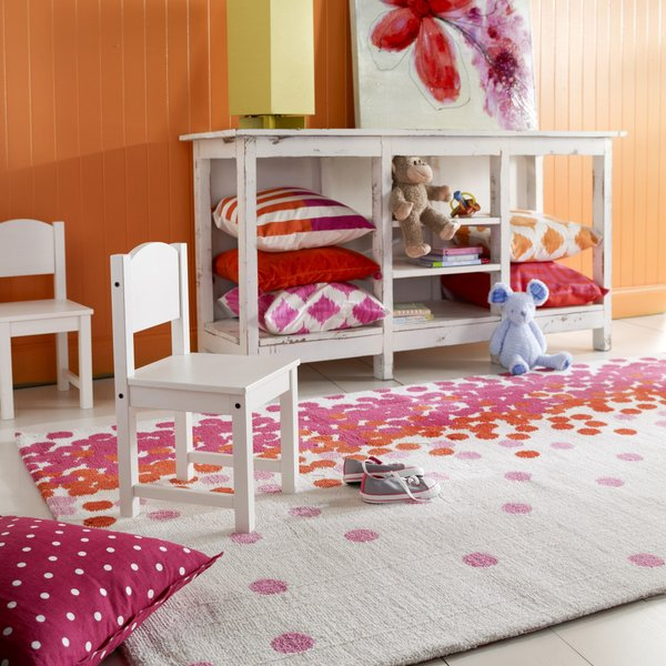 Egret, Fuchsia Pink, Mandarin Red Children's / Kids Area Rug