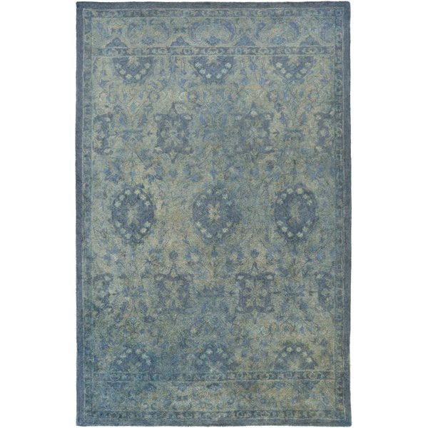 Sky Blue, Aqua, Sea Foam, Dark Brown, Emerald Traditional / Oriental Area Rug