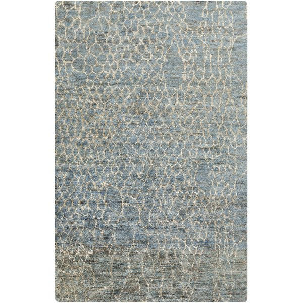 Bright Blue, Denim, Cream Moroccan Area Rug