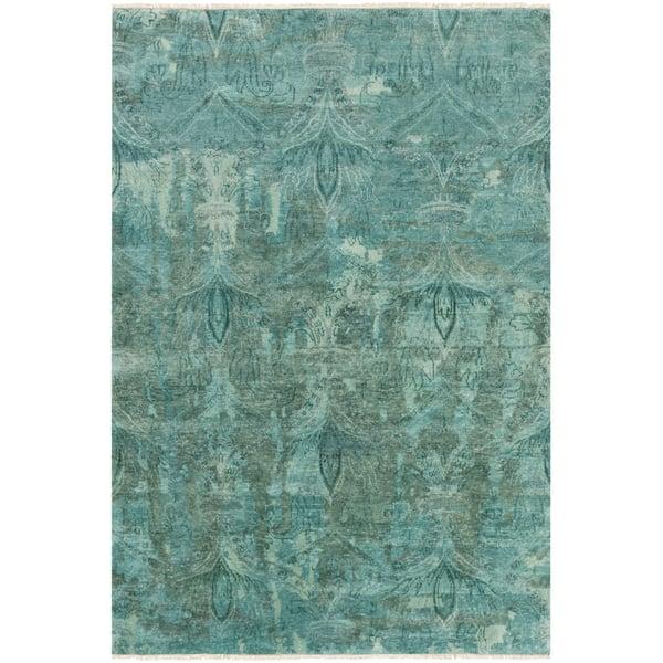 Aqua, Teal, Emerald Traditional / Oriental Area Rug