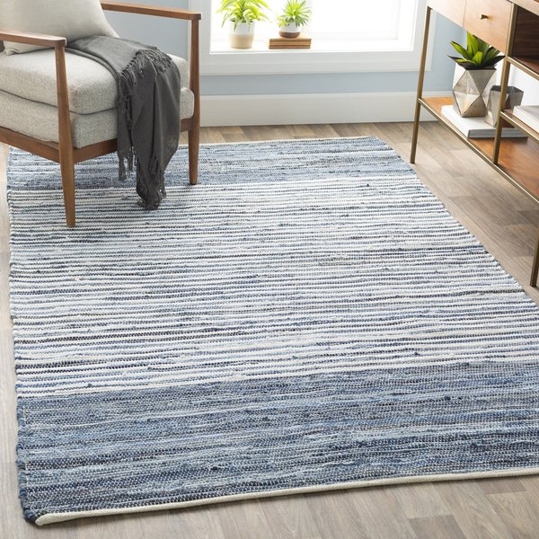 Bright Blue, Navy Striped Area Rug